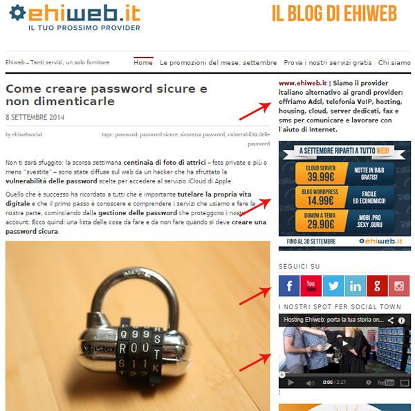 Esempi di widget nel nostro vecchio blog: nella sidebar - la colonna a destra - ecco widget di solo testo, immagine linkata, icone dei social network su cui siamo presenti, video da YouTube.