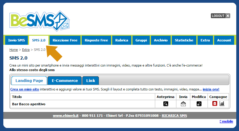 Ingresso piattaforma Besms con tab SMS 2.0