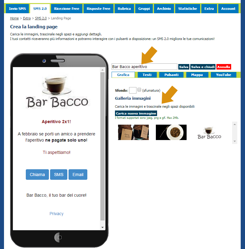besms creazione landing page per sms marketing