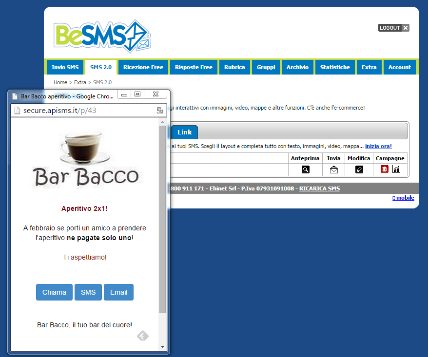 besms sms marketing visualizzazione anteprima landing page