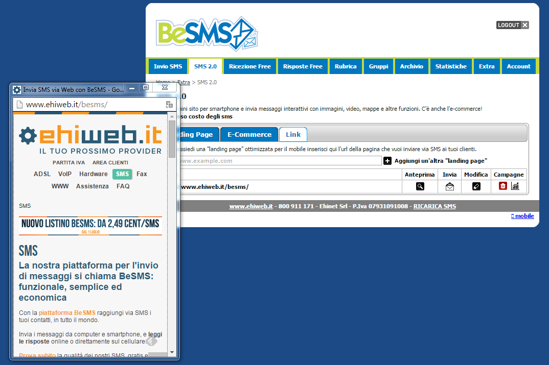 besms sms marketing visualizzare anteprima link