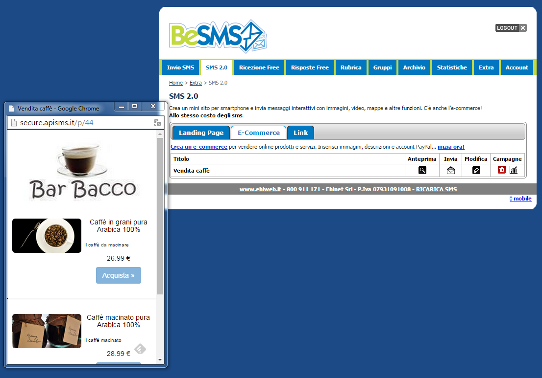 besms sms marketing visualizzare anteprima e-commerce