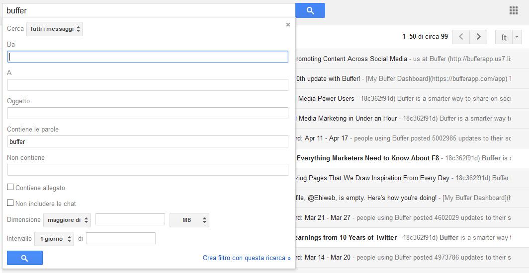 gmail come filtrare le email